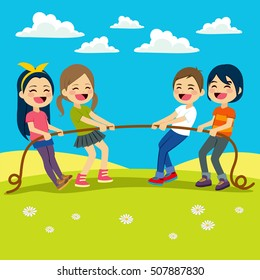 Illustration of Little Kids playing Tug of War outdoors