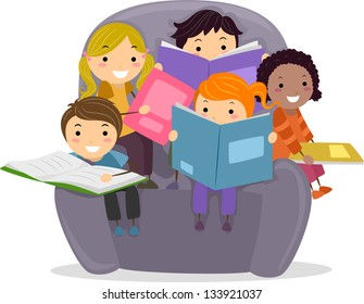 Illustration of Little Kids sitting on a Big Chair while Reading Books