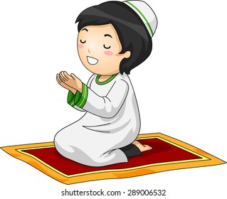 Illustration of a Little Muslim Boy Kneeling in Prayer