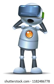 illustration of a little robot using new  technology smart virtual reality on isolated white background