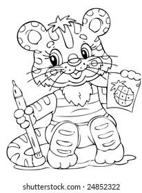illustration of the little tiger painter