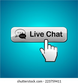 Illustration of live chat button on blue background