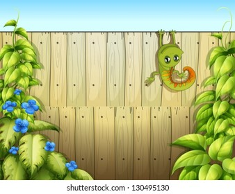 Illustration of a lizard at the fence