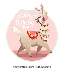 Illustration with llama and cactus plants. Vector seamless pattern on pink background. Greeting card with Alpaca.