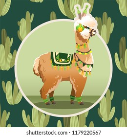 Illustration with llama and cactus plants. Vector seamless pattern on botanical background. Greeting card with Alpaca.