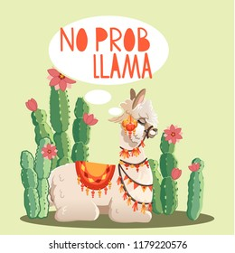 Illustration with llama and cactus plants. Vector seamless pattern on green background. Greeting card with Alpaca.