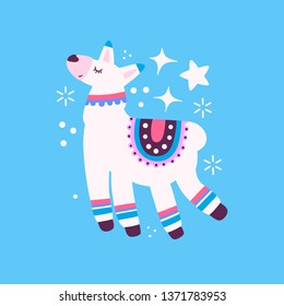 Illustration of llama isolated on a background. Flat vector drawing
