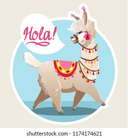 Illustration with llama. Vector image on blue background. Greeting card with Alpaca.