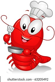 Illustration of a Lobster Character Dressed as a Chef