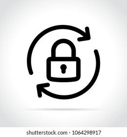 Illustration of lock reload icon on white background
