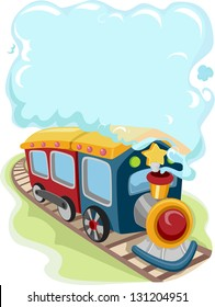Illustration of a Locomotive Train Toy Emitting Smoke for Background