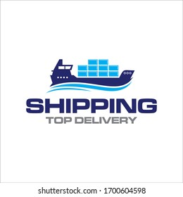 Illustration logistics and ship express delivery company logo design template