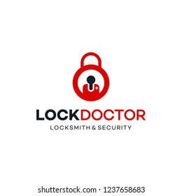 illustration logo combination from lock or padlock with a doctor logo design concept