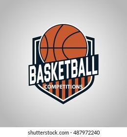 illustration logo design basketball