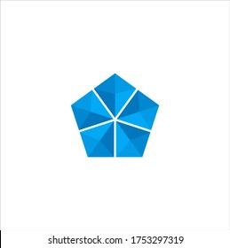 Illustration of a logo design in the form of a pentagon abstract geometric