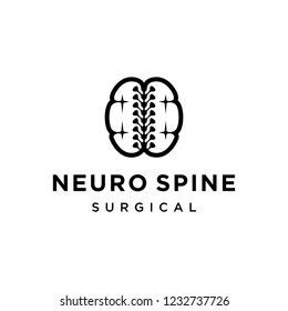 illustration logo from neuro with spine or mind with spine logo design concept