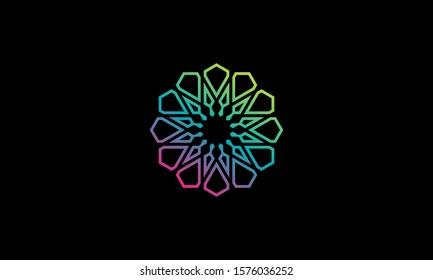 Illustration logo from prism colorfull or floral prism logo design concept