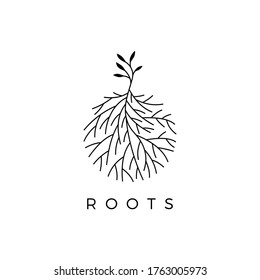 Illustration logo vector graphic of trees and fibrous roots, good for plant logos