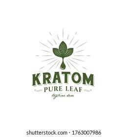 illustration logo vector graphic of vintage kratom leaf, good for kratom business logo