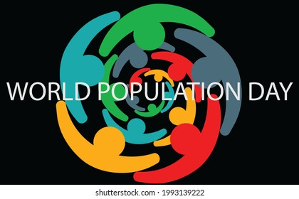 Illustration of logos and symbols to commemorate World Population Day in the form of circles of people. Text and alphabet in coloring design of humanity