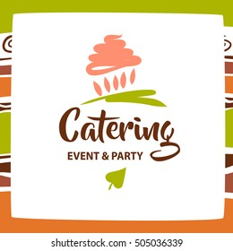 Illustration of logotype for catering premium bar, restaurant, cafe, menu, catering party with hand drawn cake isolated on white background. Vector logo for sweet candy and chocolate shop, market.