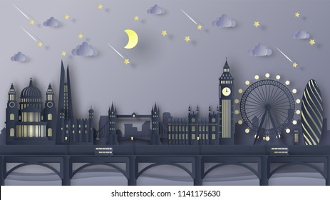 Illustration of the London City scene at night. London night lights. London's famous architecture at night time. London city scene of England. paper cut and craft style. vector, illustration.