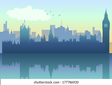 Illustration of London skyline in silhouette
