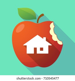 Illustration of a long shadow apple fruit with a house
