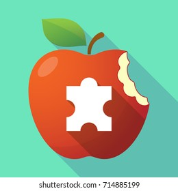 Illustration of a long shadow apple fruit with a puzzle piece
