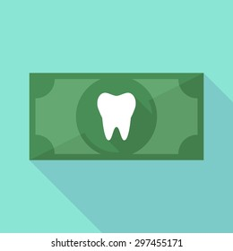 Illustration of a long shadow banknote icon with a tooth