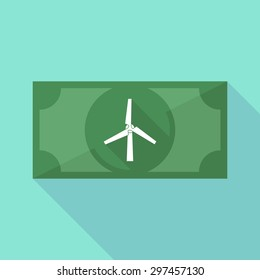 Illustration of a long shadow banknote icon with a wind generator