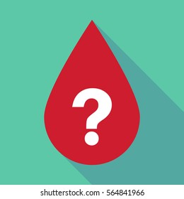 Illustration of a long shadow blood drop with a question sign