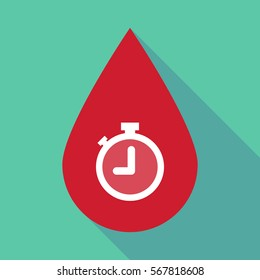 Illustration of a long shadow blood drop with a timer