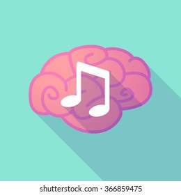 Illustration of a long shadow brain with  a note music