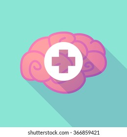 Illustration of a long shadow brain with  a round pharmacy sign