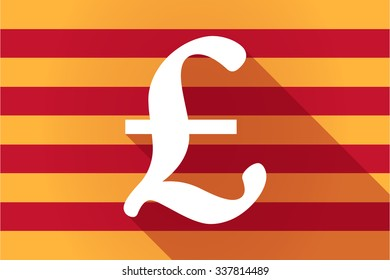Illustration of a long shadow Catalonia vector flag with a pound sign