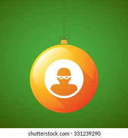 Illustration of a long shadow christmas ball icon with a thief