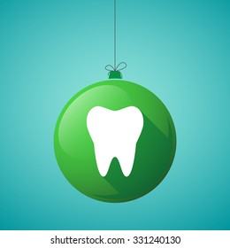 Illustration of a long shadow christmas ball icon with a tooth