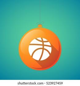 Illustration of a long shadow christmas ball with  a basketball ball
