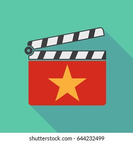 Illustration of a long shadow cinema clapper board with  the red star of communism icon