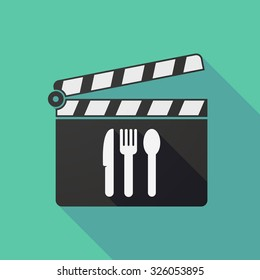 Illustration of a long shadow clapper board with cutlery