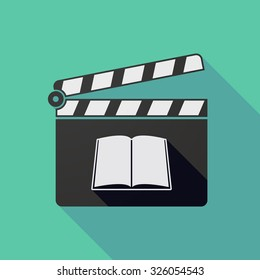 Illustration of a long shadow clapper board with a book