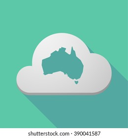 Illustration of a long shadow cloud icon with  a map of Australia