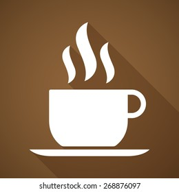 Illustration of a long shadow coffee cup icon