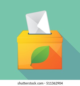 Illustration of a long shadow coloured ballot box icon with a green  leaf