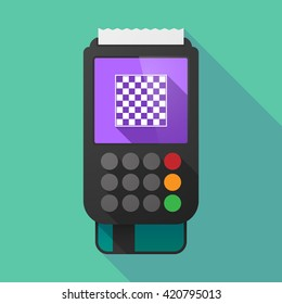 Illustration of a long shadow dataphone with  a chess board