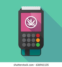 Illustration of a long shadow dataphone with  a marijuana leaf  in a not allowed signal