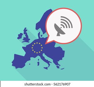 Illustration of a long shadow EU map, and its flag  with a comic balloon and a satellite dish