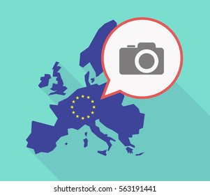 Illustration of a long shadow EU map, and its flag  with a comic balloon and a photo camera