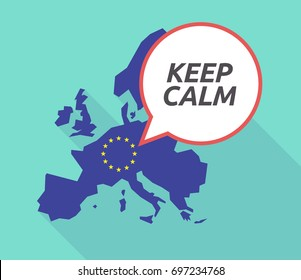 Illustration of a long shadow European Union, its flag and a comic balloon with    the text KEEP CALM
